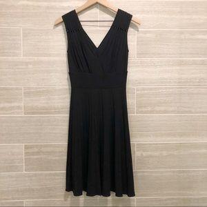 Theory V-neck Draped Pleated Swing Dress Black